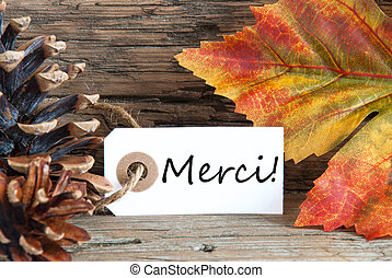 merci, automne, fond, étiquette