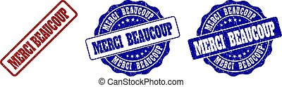 MERCI BEAUCOUP Scratched Stamp Seals