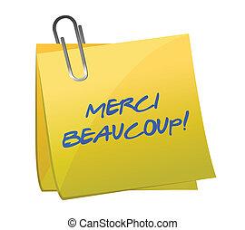Merci Beaucoup! Sticky note illustration design over a white...