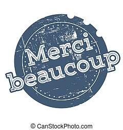 Merci blue rubber stamp