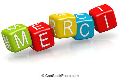 Merci word on the color cube block