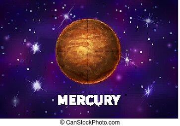 mercure, fond, coloré, espace, profond, planète, réaliste, clair, étoiles