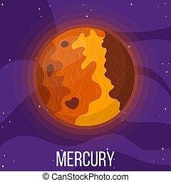 mercure, planète, dessin animé, style, space., coloré, vecteur, design., mercury., illustration, n'importe quel, univers