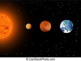 mercure, vénus, &, soleil, la terre