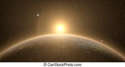 mercurio, con, salida del sol