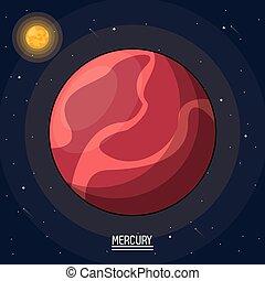 mercurio, manifesto, pianeta, colorito, spazio
