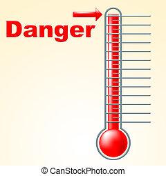 mercurio, pericolo, stare attento, indica, centigrado, ...