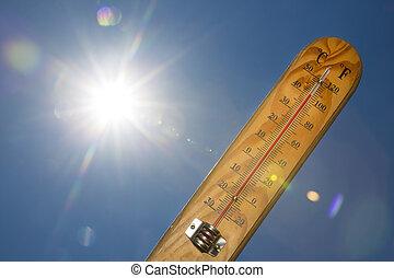 mercurio, sol, termómetro, verano, calor, luz