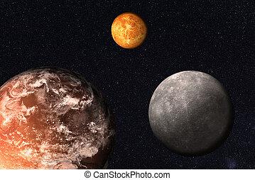 mercury., 태양의, 화성, space., 함께, 지구, 행성, 체계