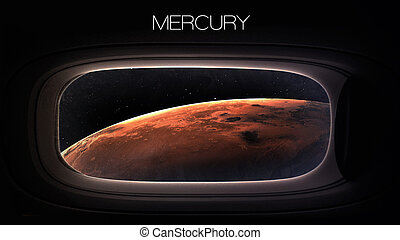 Mercury - Beauty of solar system planet in spaceship window porthole. Elements of this image furnished by NASA