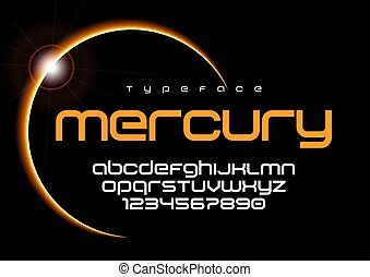 Mercury futuristic minimalist font design, alphabet, typeface, l