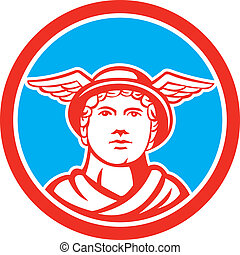 Mercury Head Winged Hat Circle Retro - Illustration of Roman...