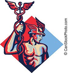 Mercury Holding Caduceus Staff Retro - Illustration of Roman...