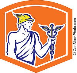 Mercury Holding Caduceus Staff Shield Retro - Illustration...