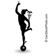 Mercury is the god of commerce on a white background