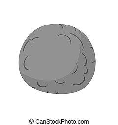 Mercury isolated cartoon style. Black Planet of solar system on white background
