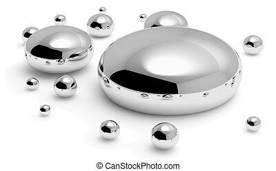 Mercury metal (hg) drops - Shiny mercury metal (hg) drops...