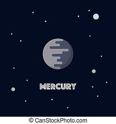 Mercury on space background