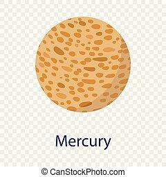 Mercury planet icon, flat style