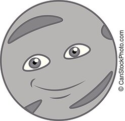 Mercury planet with a smile vector or color illustration