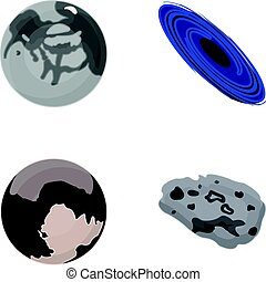 Mercury, Pluto of the Planet of the Solar System. A black hole and a meteorite. Planets set collection icons in cartoon style vector symbol stock illustration web.