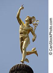 Mercury Statue - A gilt statue of the Roman God Mercury