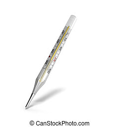 mercury thermometer 3d render on white background