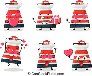 Mercusuar cartoon character with love cute emoticon