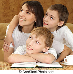 Mercy charming mom and sons sitting