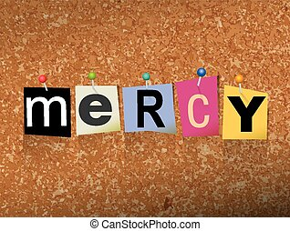 """Mercy Pinned Paper Concept Illustration - The word """"MERCY"""" ..."""