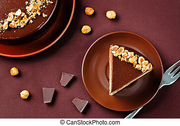 Merengue hazelnut chocolate cake. toning. selective focus