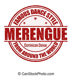 Famous dance style, Merengue grunge rubber stamp on white, vector illustration