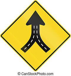 Merge Ahead in Canada - Warning road sign in Quebec, Canada...