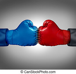 Merge Powers - Merge powers business concept as two boxing...