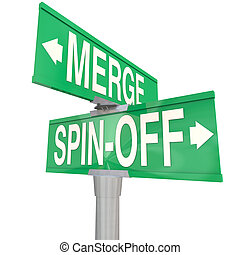 Merge Vs Spin-Off Words Two Way Road Signs - Merge Vs...