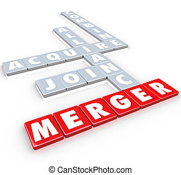 Merger Tile Words Acquire Join Alliance Combine Companies - ...