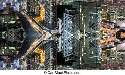 Merging buildings time-lapse of tokyo city skyline