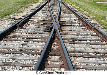 Merging Tracks - A set of merging railway tracks on the...