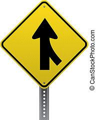 Merging traffic warning sign. Diamond-shaped traffic signs...