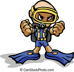 mergulhador, com, punhos apertados, vetorial, caricatura, ilustração