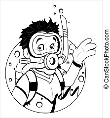 mergulhador, scuba, caricatura