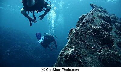 mergulhadores, visitando, a, destruição, giannis, d, mar...