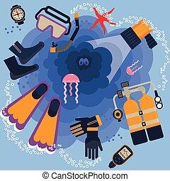 mergulhando equipamento, cartaz