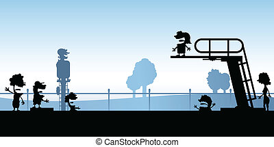 mergulhando tábua, piscina