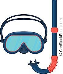 mergulhar, óculos proteção, mask.