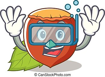 mergulhar, avelã, personagem, caricatura, estilo
