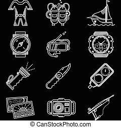mergulhar, branca, vetorial, linha, ícones