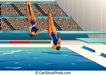 mergulhar, competição