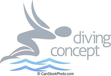mergulhar, conceito, nadador