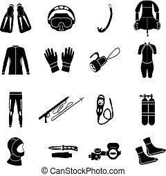 mergulhar, equipment., scuba